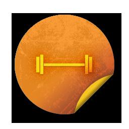Orange Grunge Sticker Icon Sports Hobbies Weight Lifting2 Sc43 Ad Venture Inc